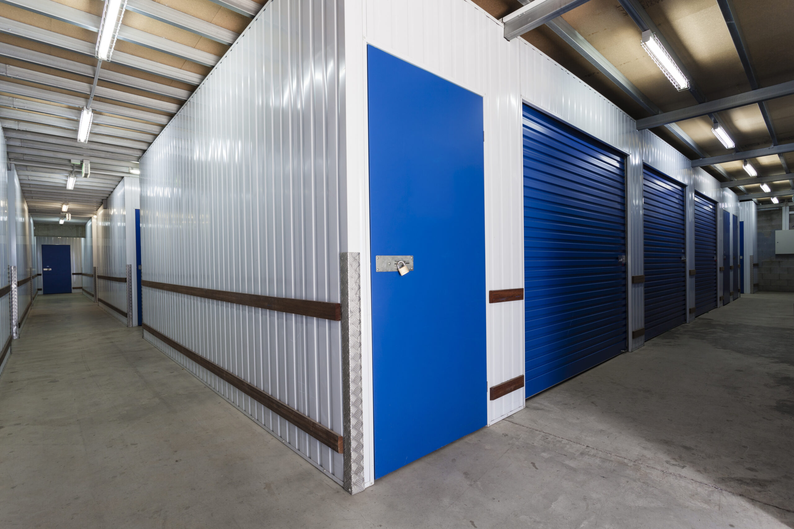 Indoor storage units in a warehouse