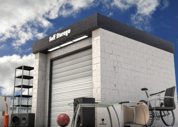 An outdoor self storage unit like what you might find at a self-storage auction